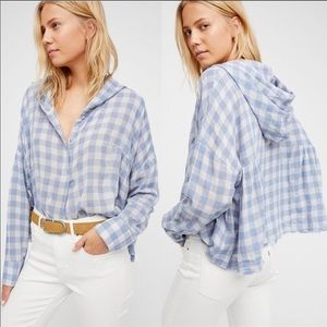Free People Let It All Go Plaid Hooded Blouse